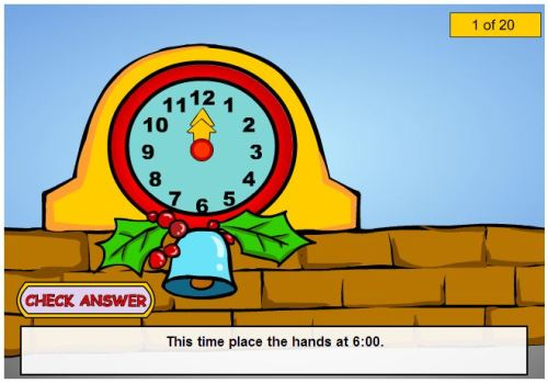 Place the hands on the clock to tell the time. Three levels of difficulty for the questions.