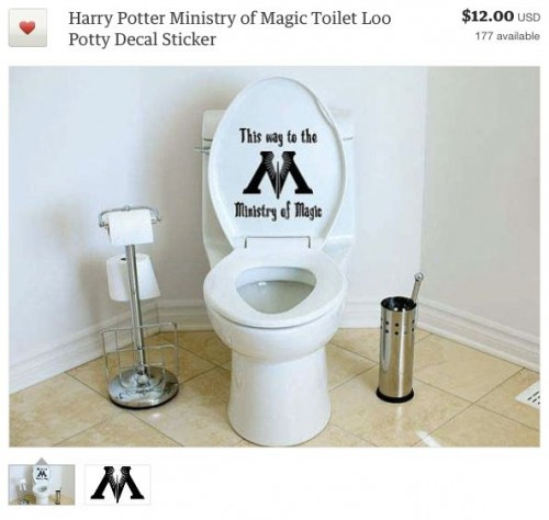 Harry Potter Ministry of Magic Toilet Loo Potty Decal Sticker $12.00 USD