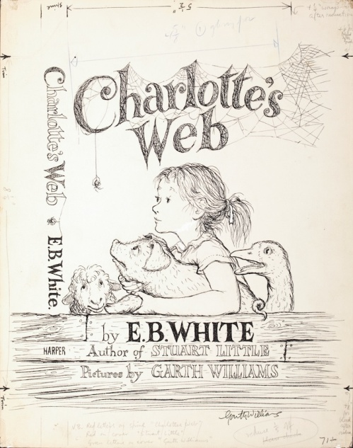 Garth Montgomery Williams (American, 1912-1996) Charlotte's Web, book cover, 1952 Graphite and ink on paper 14 x 11 in. Signed lower right