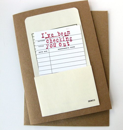 Valentine Card // Checking You Out Library Card // Funny Valentine by MeowKapowShop $7.90 on Etsy (click)