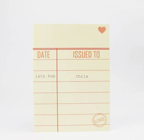 Personalised Library Valentine Card by Sarah Hurley Designs $4.75 on Etsy (click)