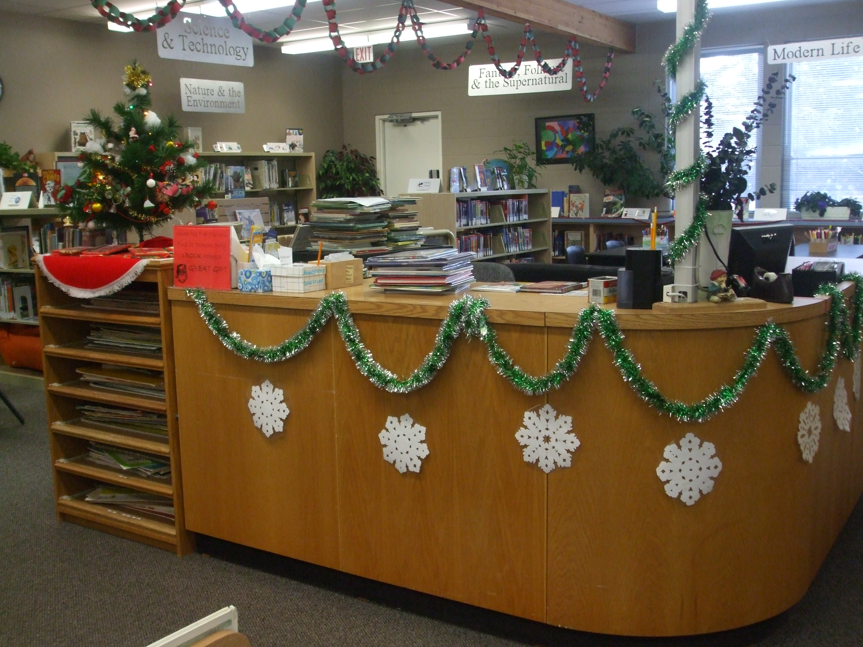 The Circulation Desk With Christmas Tree
